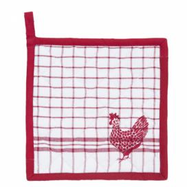 Chňapka - podložka Country Side Chicken red - 20*20 cm Clayre & Eef